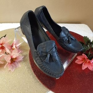 Cole Haan loafer flats navy blue with tassels